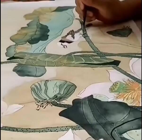 长沙工笔画培训教学视频-荷花绘画视频