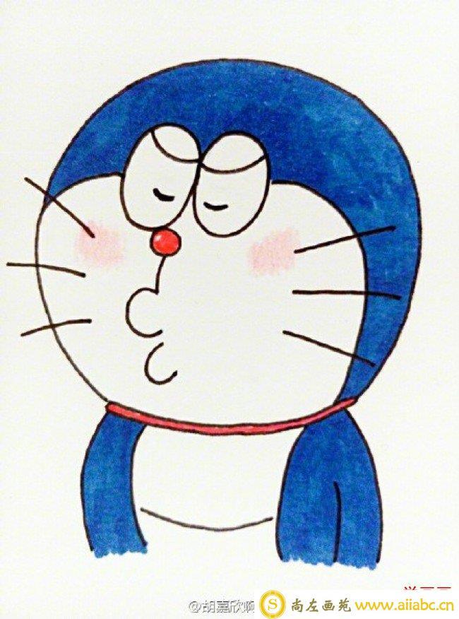六只不同表情的蓝胖子简笔画图片