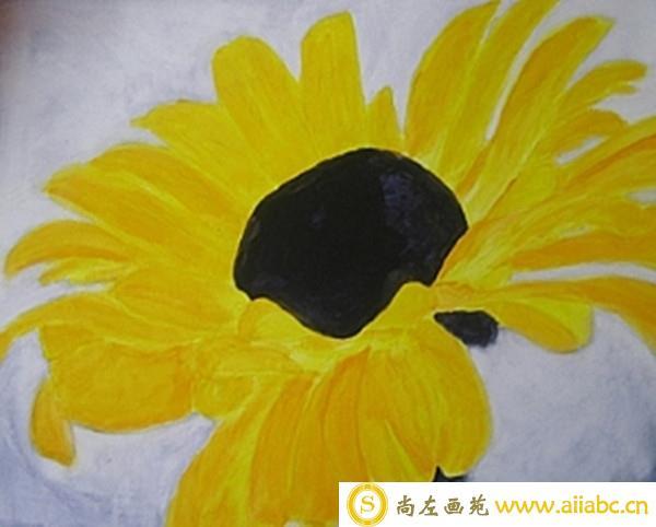 简单的丙烯画太阳花步骤图片详解