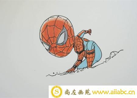 蜘蛛侠儿童画步骤