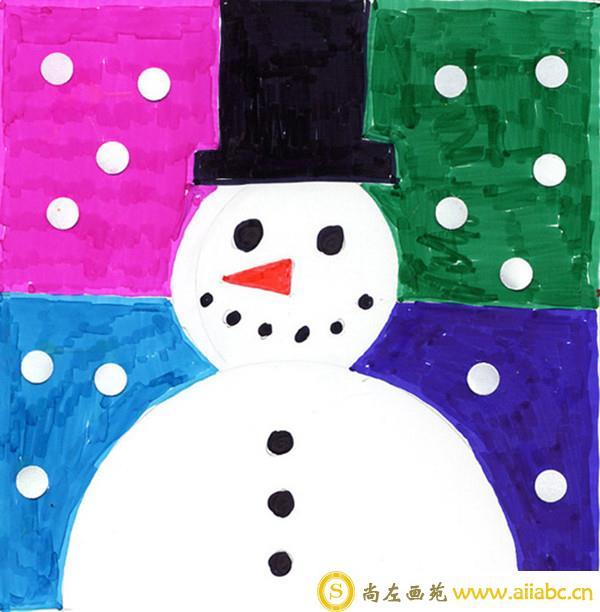 怎么用水彩画冬天雪人儿童画