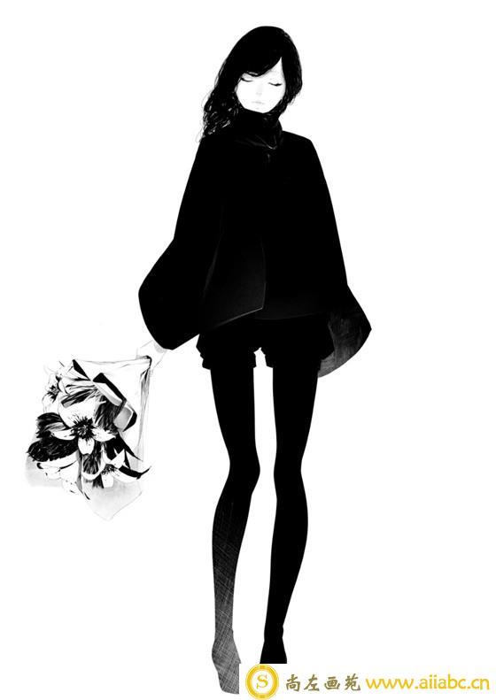 手绘黑白插画:手绘酷劲十足的少女插画教程