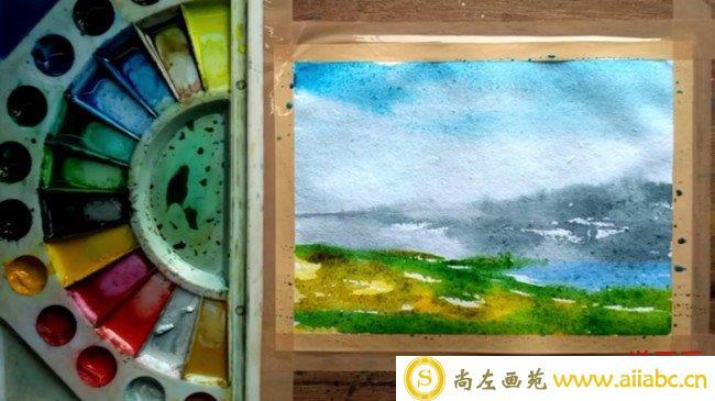 【视频】优美的湖边草地自然风光风景水彩画视频教程手绘画法步骤_