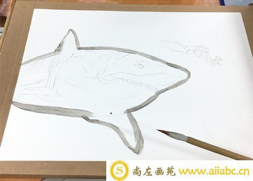 手绘凶猛鲨鱼