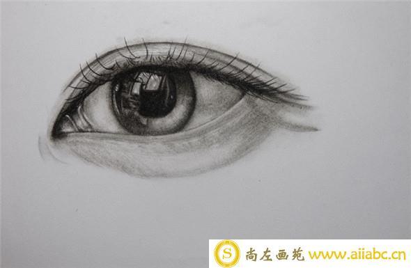 炭笔教学:唯美眼睛手绘教程