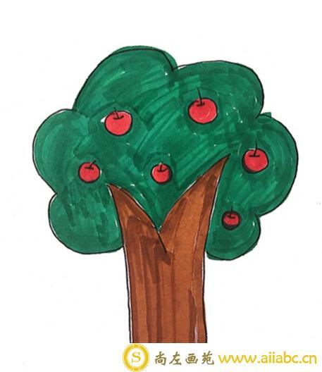 儿童画苹果树的步骤图