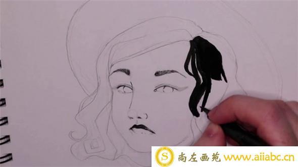 手绘插画教程:手绘美女黑白插画教程
