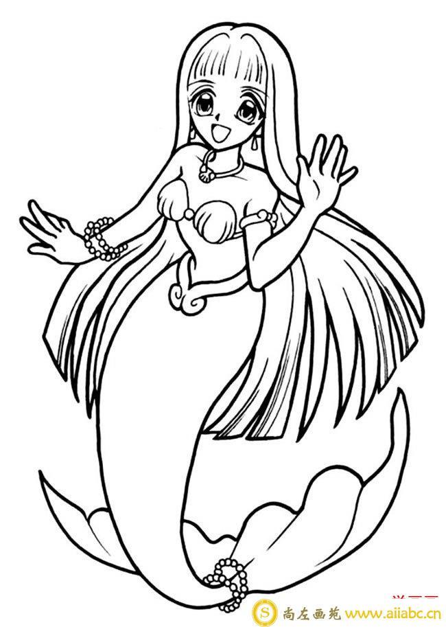 7款美丽的美人鱼简笔画图片大全