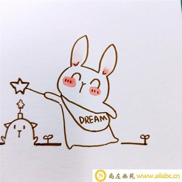 儿童画教程:可爱的魔法小兔子儿童画