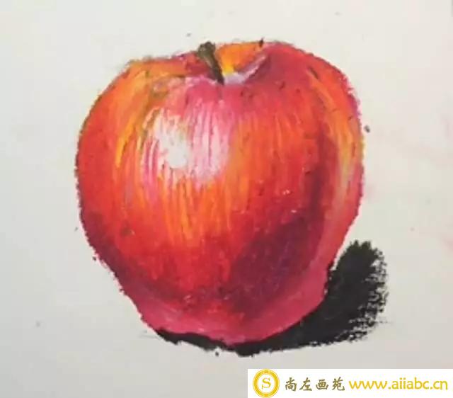 油画棒画苹果