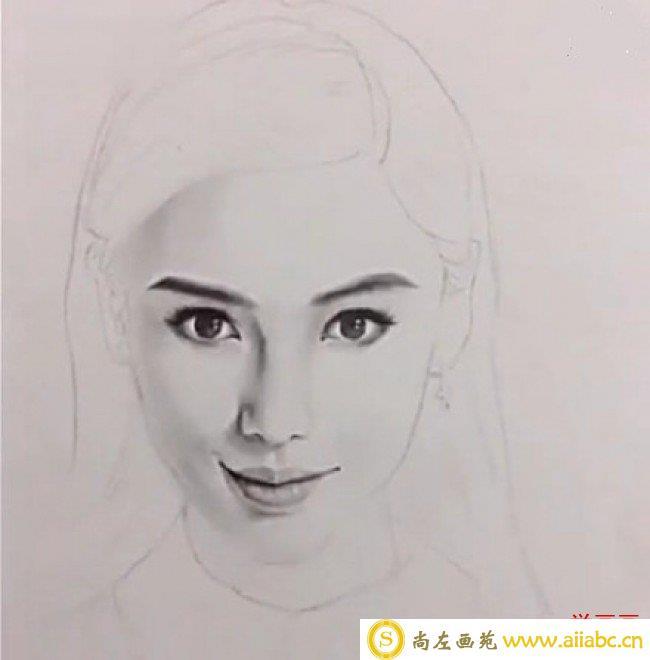 女神angelababy素描头像手绘画教程图片 明星angelababy怎么画 angela