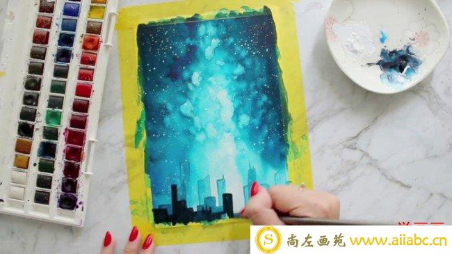 【视频】唯美的星空下城市夜空星空水彩画视频教程 星空的画法_