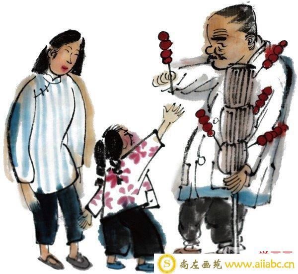 水墨小孩买冰糖葫芦绘画教程