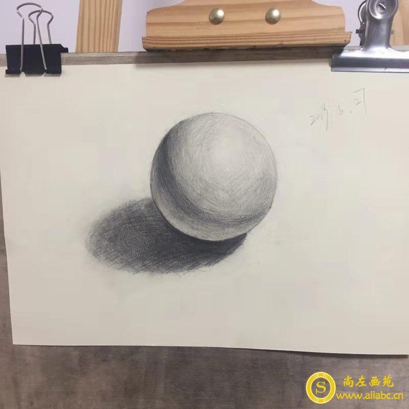 素描圆方体石膏画