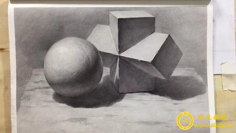素描圆方体立方体石膏画