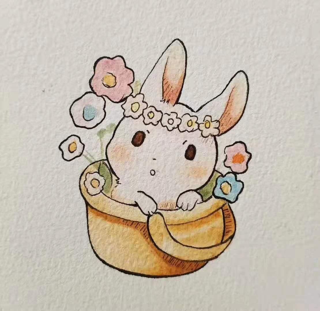 小学美术培训班指导水粉画兔子