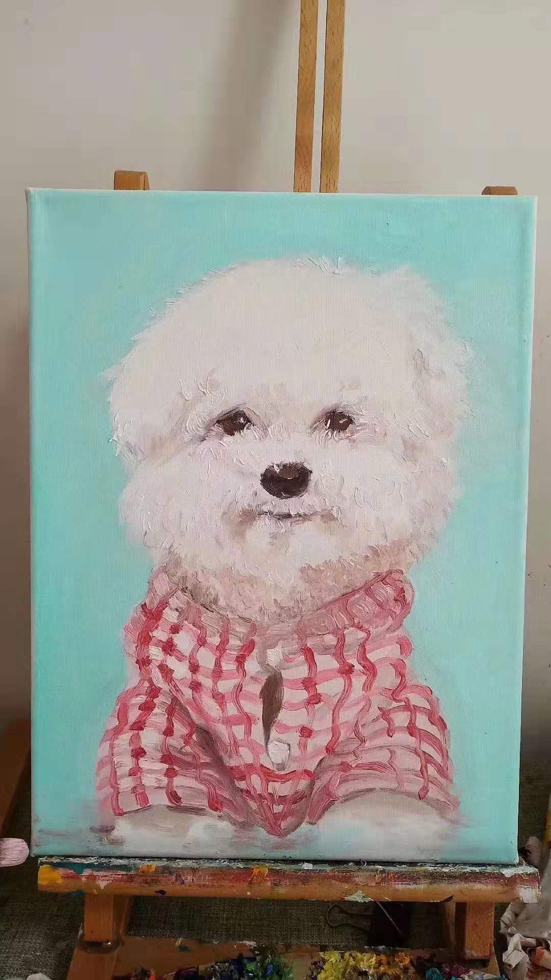 高中学员油画美术作品比熊狗狗